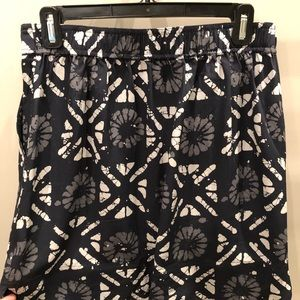 Madewell distance skirt, batik grid print, silk